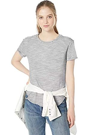 Daily Ritual Lightweight Lived-in Cotton Roll-sleeve Crewneck T-shirt / Micro Stripe