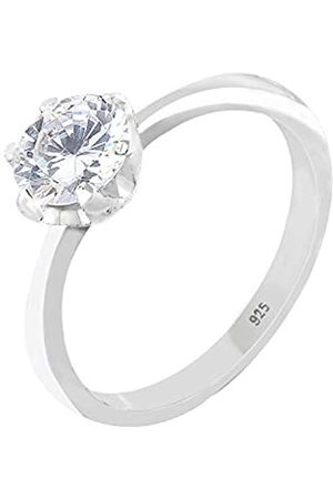 Elli Women's 925 Sterling Silver Xilion Cut Zircon Basic Sparkle Solitaire Ring