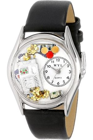 Whimsical Watches Casino Black Leather and Silvertone Unisex Quartz Watch with Dial Analogue Display and Leather Strap S-0420002