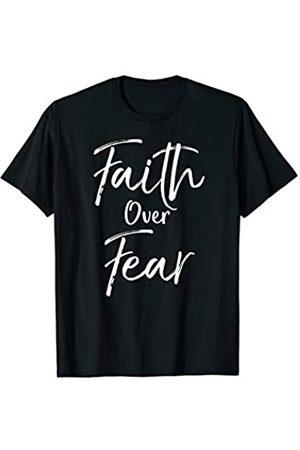 P37 Design Studio Jesus Shirts Cute Christian Quote for Women Jesus Gift Faith Over Fear T-Shirt