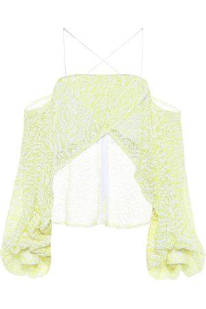 HALPERN Sequined off-shoulder cropped blouse