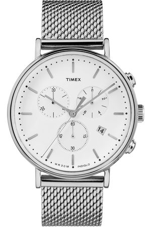 Timex Fairfield White Chronograph Dial Stainless Steel Mesh Strap Watch