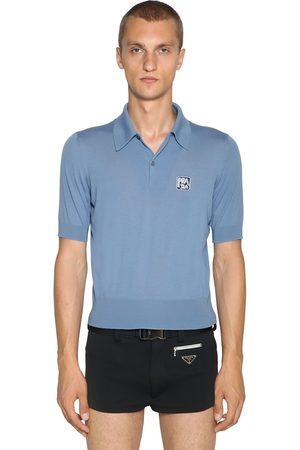 Prada Wool Polo Shirt W/ Logo Patch