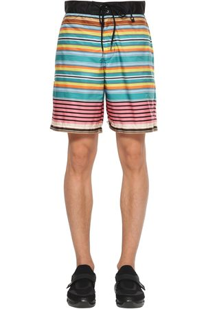 Prada Striped Nylon Swim Shorts