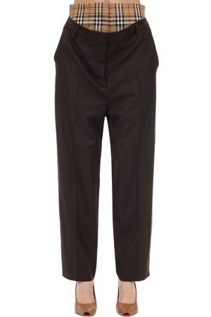 Burberry Wool Pants W/ Checked Waist Insert