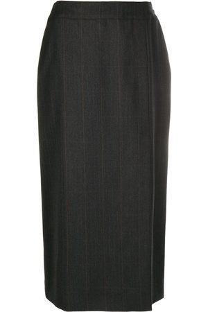 CHANEL Straight-fit wrap midi skirt