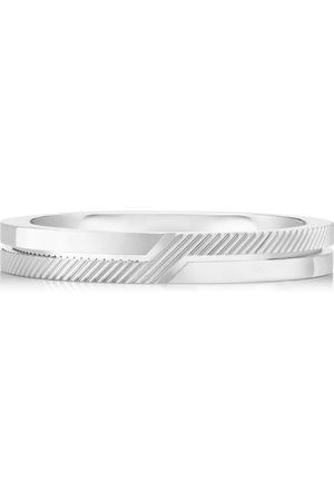 De Beers White Gold Half Textured Promise Ring