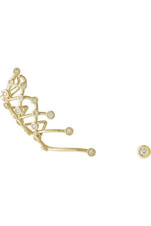 Hstern Yellow and Diamond Silk by Ear Cuff Stud Earrings