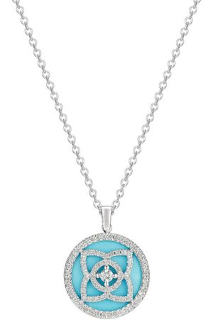 De Beers White Gold and Diamond Enchanted Lotus Pendant Necklace
