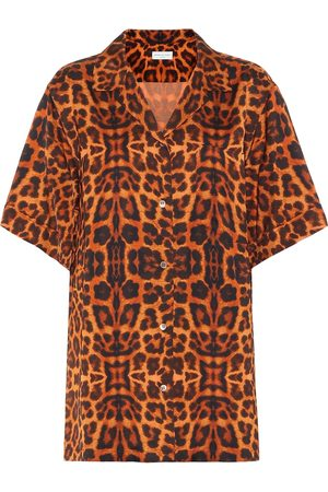 DRIES VAN NOTEN Leopard-printed satin shirt