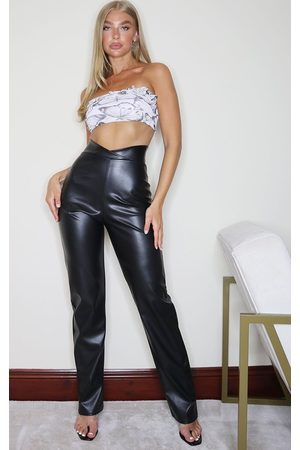 PRETTYLITTLETHING Women Trousers - Faux Leather V Waist Trousers