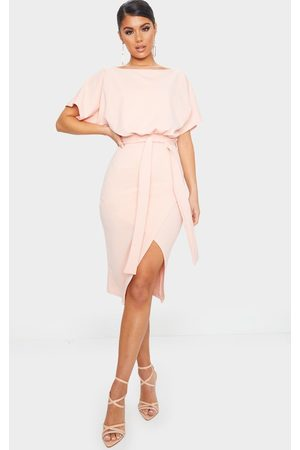 PRETTYLITTLETHING Nude Wrap Front Kimono Sleeve Midi Dress