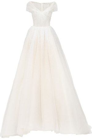 GEORGES HOBEIKA Organza Off-the-shoulder Dress W/train