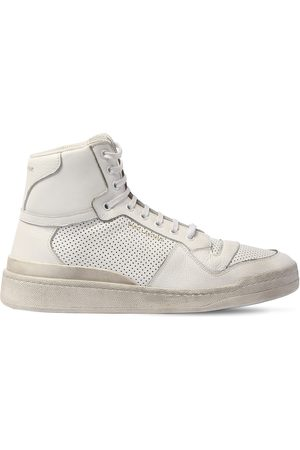 Saint Laurent Perforated Leather High Top Sneakers