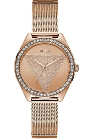 Guess Tri Glitz Rose Gold Crystal Set Dial Stainless Steel Mesh Strap Ladies Watch
