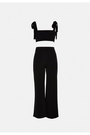 Missguided Tie Shoulder Crop Top And Trousers Co Ord Set