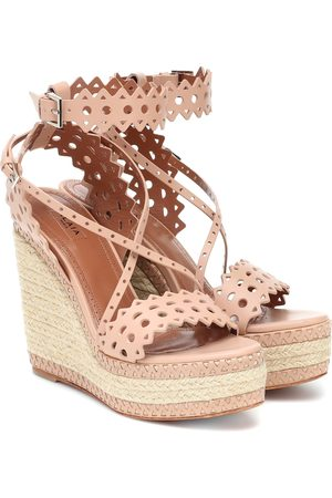 Alaïa Women Sandals - Leather espadrille wedge sandals