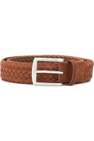 Scarosso Men Belts - Square buckle interwoven belt - Neutrals