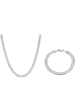 The Love Silver Collection Sterling 1Oz Solid Diamond Cut Curb Chain And Bracelet Set