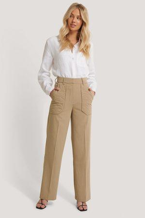 NA-KD Quilted Pocket Suit Pants - Beige