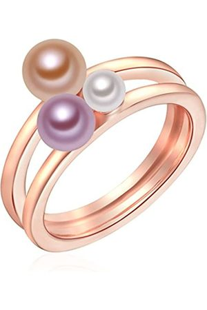 Valero Pearls Ring with Freshwater Pearl - 925 Sterling Silver (Pink Gold-plated) - Pearl Jewellery - Women's Jewelry - Many Sizes, Silver Jewelry