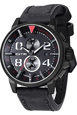 Extri F. Men's Quartz Watch with Chronograph Quartz Leather X3003D