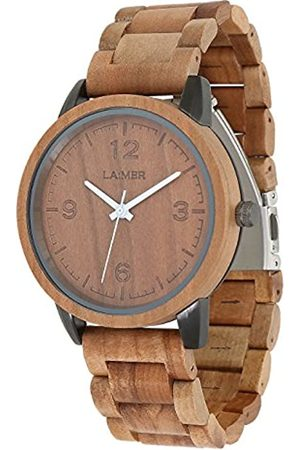 LAiMER Men's Woodwatch EDDI Mod. 0085 applewood - Analogue Quartz-Wristwatch with brown wood-strap