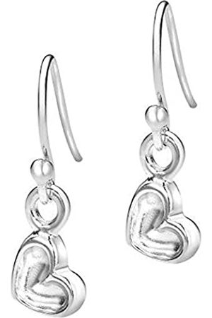 Dower & Hall Memento Sterling Tiny 6mm Dimple Heart Drop Earrings