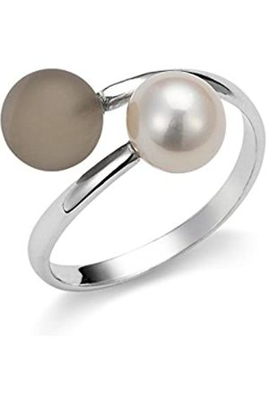 ADRIANA Gelato Women's Ring 925 Sterling Silver Rhodium-Plated Quartz Brown Freshwater-Cultured Pearl Size 52 (16.6) AGR5–Adjustable Size L