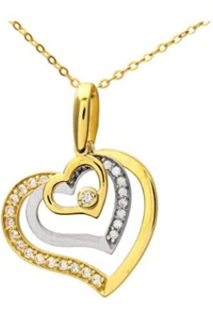 Citerna 9 ct and White Cubic Zirconia Triple Heart Pendant and Chain of 46 cm