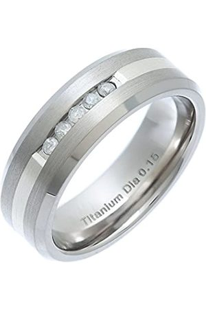 THEIA Flat Court 0.15 ct Diamond 7 mm Titanium and Silver Inlay Ring - Size P