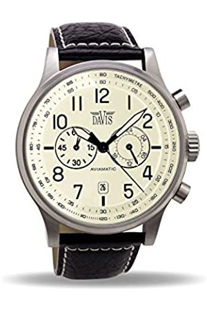 Davis 1022 - Mens Aviation Watch Chronograph Waterresist 50M Dial Date Leather Strap