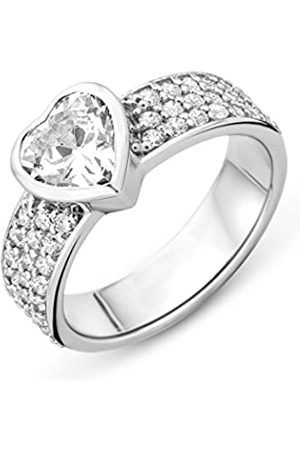 Miore Ladies 925 Sterling Zirconia Heart Shape Ring - Size N