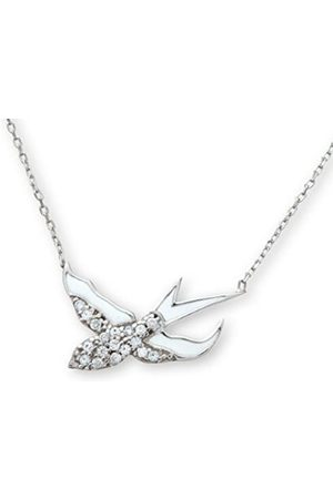 Citerna Sterling Cubic Zirconia and Enamel Flying Bird Pendant and 42 cm Chain