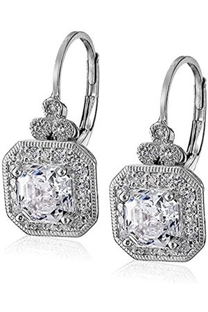 La Lumiere Platinum Plated Sterling Silver Made with Cubic Zirconia from Swarovski® Asscher-Cut Antique Drop Earrings