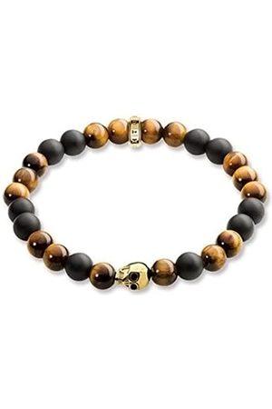 "Thomas Sabo Rebel at Heart Men's Bracelet"" Skull Silver Plated Tiger Eye A1509-881 17"