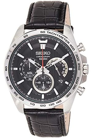 Seiko Mens Chronograph Quartz Watch with Leather Strap SSB305P1