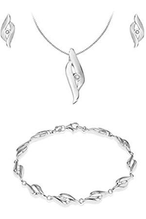 Tuscany Silver Sterling Rhodium Plated Diamond Crossover Set Earrings/Pendant/Bracelet