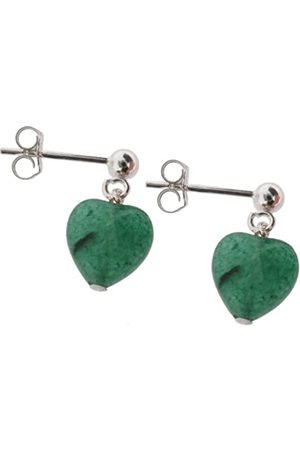 Earth Aventurine Heart Drop Earrings on Sterling Silver Ball Stud - from the Collection