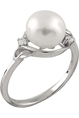 Bella Freshwater Pearl and Cubic Zirconia Sterling Silver Ring - Size L