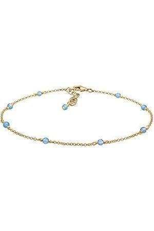 Elli Women's 925 Sterling Silver Plated Agate Gemstones Anklet - 22cm length