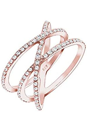 Elli Women's 925 Sterling Silver Xilion Cut Zirconia Rose Plated Crossed Ring