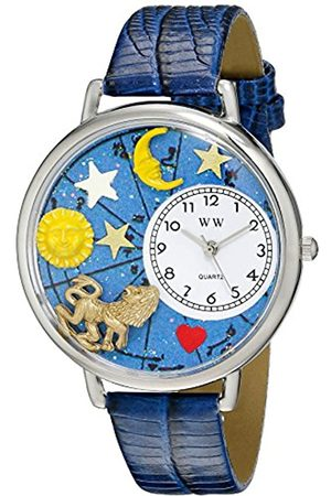 Whimsical Leo Royal Blue Leather and Silvertone Unisex Quartz Watch with Dial Analogue Display and Leather Strap U-1810007