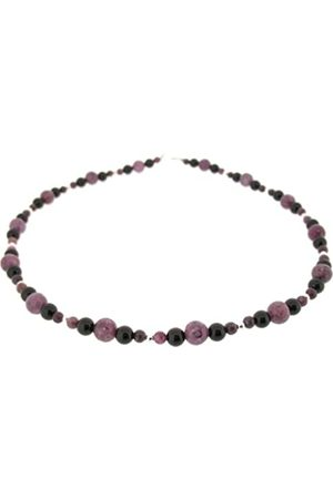 Earth Lepidolite and Black Onyx Beaded Necklace at 45cm in Length