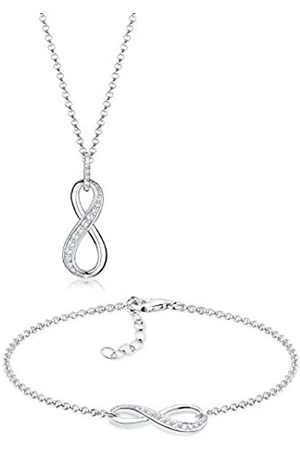 Elli Women's 925 Sterling Silver Zirconia Infinity Love Friendship Forever Love Necklace and Bracelet Jewellery Set of Length 45 cm