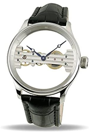 Davis 1700 Men's Skeleton Mechanical Watch, Baguette Movement, Steel Case