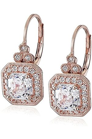 La Lumiere Rose Plated Sterling Silver Made with Cubic Zirconia from Swarovski® Asscher-Cut Antique Drop Earrings