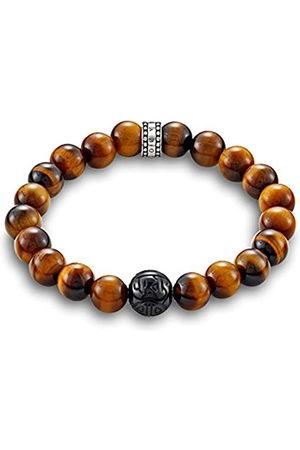 Thomas Sabo Unisex 925 Sterling Silver Rebel at Heart Obsidian Tiger's Eye Bracelet of Length 15.5 cm A1408-806-2-L15