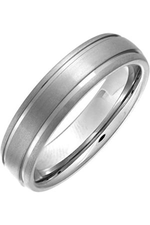 THEIA Titanium Court Matt Grooved 6mm Ring - Size L