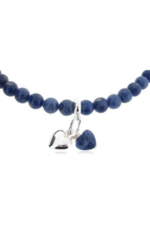 "Earth Dark Sodalite Heart and Sterling Silver Heart on Dark Sodalite Beaded 18"" Necklace - from the Collection"